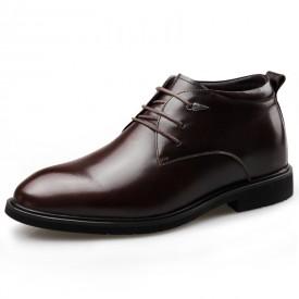 Brown Taller Plain Toe Tuxedo Shoes Hidden Lift Business Formal Shoes Increase 2.6inch / 6.5cm