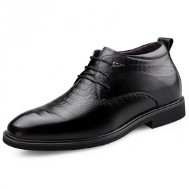 Embossed Lift Wedding Shoes Soft Cowhide Leather Woolen Formal Derbies Gain Tall 2.6inch / 6.5cm