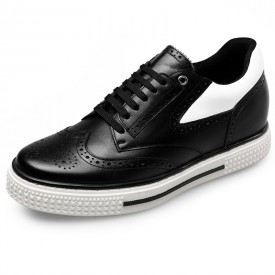 Elevator Brogue casual shoes height 2.6inch / 6.5cm black wing tip skate shoes