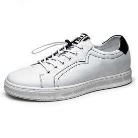 2019 Fashion Hidden Lift Board Shoes White Soft Calfskin Elevator Casual Shoes Height 2.4inch / 6cm