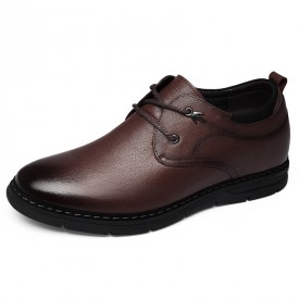 Brown Soft Cowhide Hidden Elevator Shoes Lace Up Casual Business Shoes Increase 2.4inch / 6cm