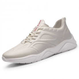 White Genuine Leather Taller Sneakers Super Lightweight Running Shoes Height 2.8inch / 7cm