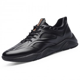 Black Genuine Leather Taller Sneakers Super Lightweight Running Shoes Incease 2.8inch / 7cm