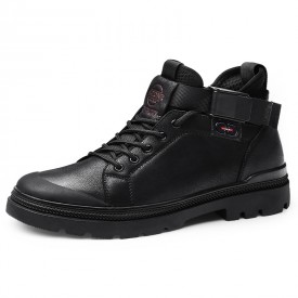 Black Steel Toe Elevator Shoes High Top Strap Soft Leather Casual Shoes Get Taller 2.8inch / 7cm