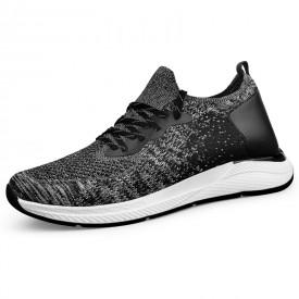 Gray Lightweight Men Elevator Running Shoes Flyknit Hidden Heel Sneakers Increase Height 2.6inch / 6.5cm
