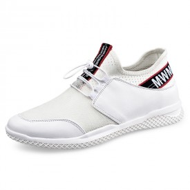 White Height Increasing Running Shoes Mesh Casual Elevator Loafers Add Taller 2.4inch / 6cm