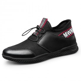 Black Height Increasing Running Shoes Mesh Casual Elevator Loafers Add Taller 2.4inch / 6cm