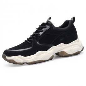 Black Elevator Dad Sneakers Suede Leather Clunky Shoes That Give You Taller 2.8inch / 7cm