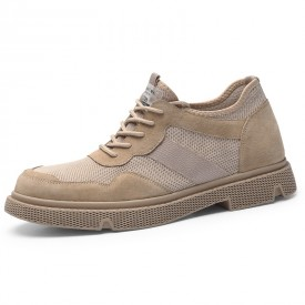 Tan British Height Work Shoes Genuine Leather Casual Outdoor Shoes Get Taller 2.6inch / 6.5cm