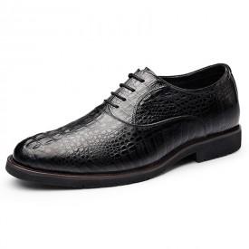 2019 Luxury Elevator Wedding Shoes Crocodile Cowhide Oxfords Increasing Taller 2.6inch / 6.5cm